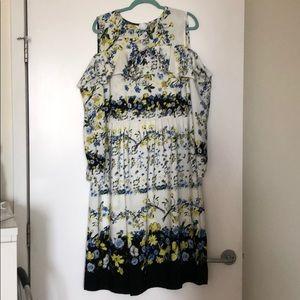 ASOS cold shoulder floral print dress